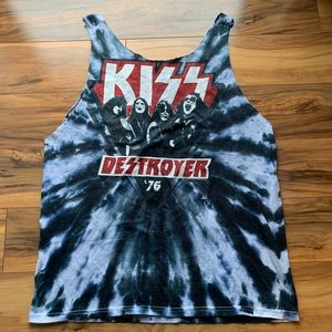 Kiss Destroyer 76 tie dye cut out tank L-Xl